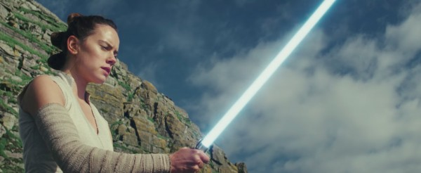Rey Unleashes the fabled Lightsaber of Luke
