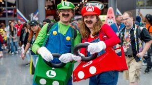 Mario and Luigi looking cute in their carts