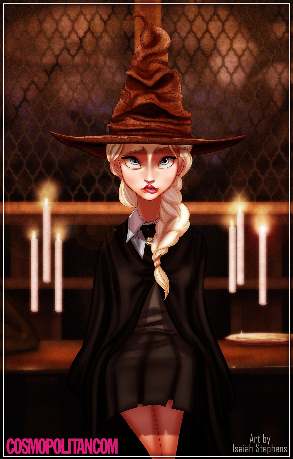 Elsa does not look happy with being put into Slytherin