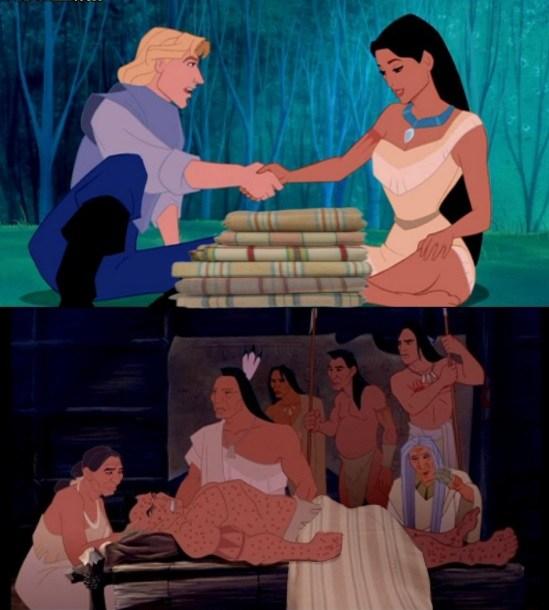 John Smithgives Pocahontas small-pox tainted blankets