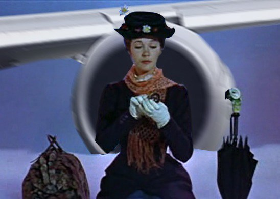 Marry Poppins is hit by a jet when she is sitting on a cloud