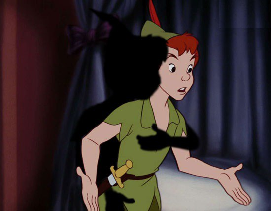 Peter pan is groped by his shadow