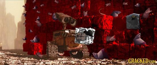 Wall-E like to make human trash blocks