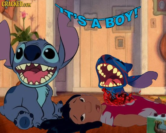 A baby stitch is born as he tears out of Lilo's chest