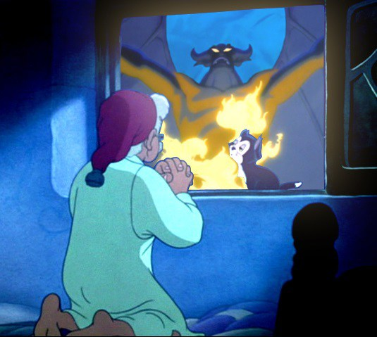 Gepetto actually prays to the demon from Fantasia