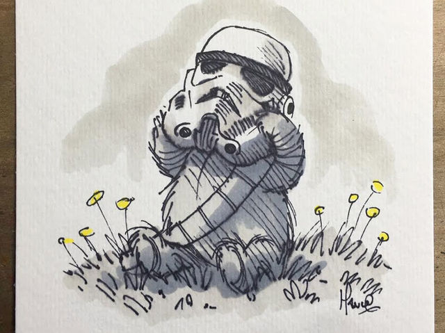 Mischievous Pooh Trying a Storm-Trooper Helmet