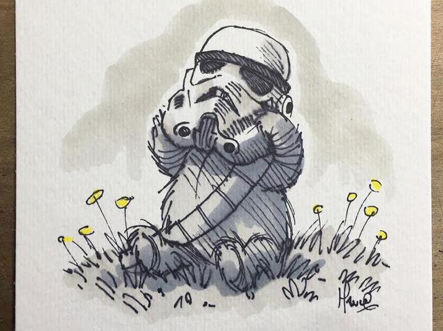 Mischievous Pooh Trying a Storm-Trooper Helmet