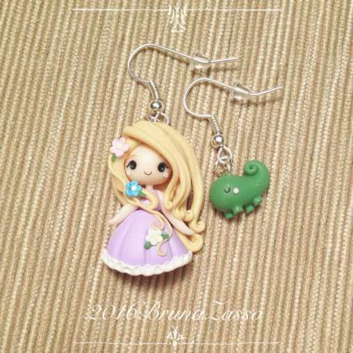 Rapunzel and Pascal Chibi Earrings