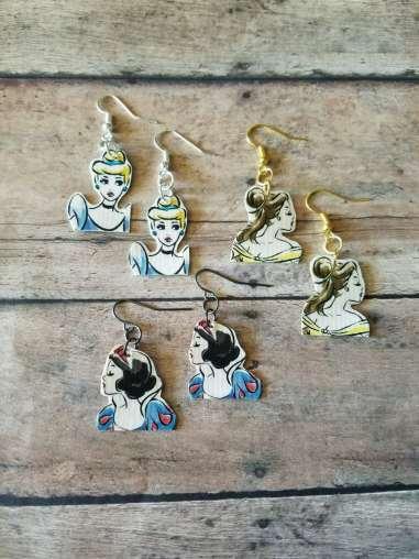 Duct Tape Vintage Disney Princess Earrings
