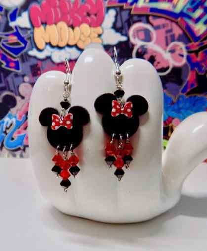 Minnie Mouse Bow Dangle Earrings