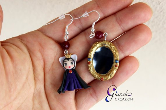 Snow White's Queen and Her Mirror Earrings