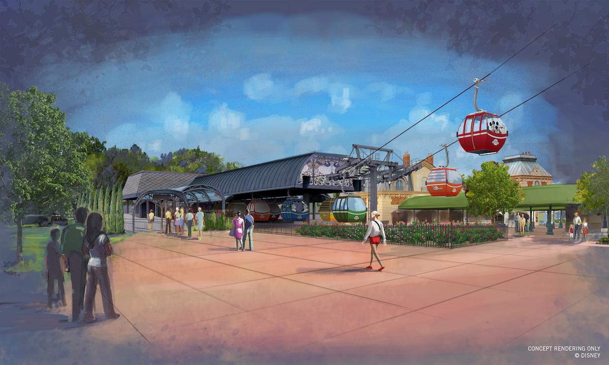 The Disney Skyliner station at International Gateway at Epcot