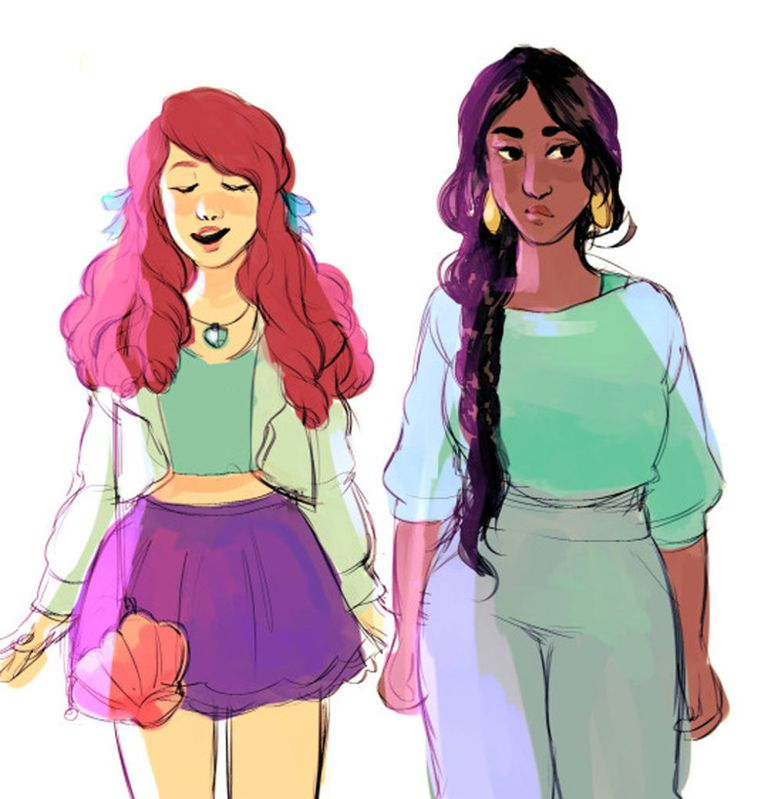 Ariel and Jasmine from The Little Mermaid and Aladdin